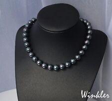 schwarze Collier Perlen Halskette Perlenkette mit 10mm Muschelkernperlen Tahiti