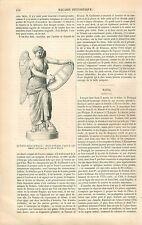 Victoire Antique de Brescia Italia /Palais de Mafra Portugal GRAVURE PRINT 1861