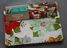 Pioneer Woman Christmas Watercolor Poinsettia/Green Check Table Runner NWT
