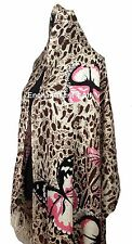 """Stunning 24""""x78"""" 2-Ply 100% Cashmere LEOPARD Scarf Shawl Wrap w/ BUTTERFLY Brown"""