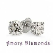 1.5 ct round natural diamond solitaire stud earrings 14k white gold screw backs