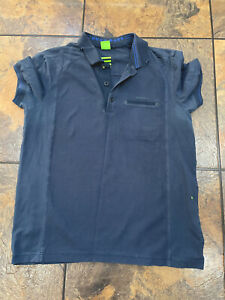 HUGO BOSS Blue Short Sleeve Polo Shirt M Slim Fit Green Golf Label
