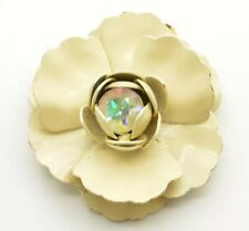Vintage Brooch Pin Signed Weiss Off White Enamel Gold Tone AB Rhinestone