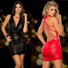Schwarze Leder Kleid mit V-Ausschnitt  Lack-Wäsche rückenfrei für Party