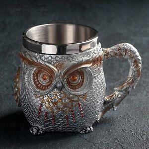 3D owl Design Stainless Steel Coffee Mug Creative Tea Mugs Gift NEW Present