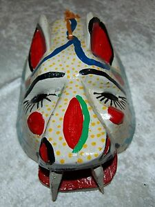 """Wooden Hand Painted Mask Wall Art 9"""" x 7"""" x 4.5"""" Depth"""