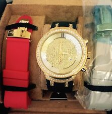 New gold tone Mens JOJO Joe Rodeo master jjm26 2.65ct.apx.136pcs.Diamonds watch.