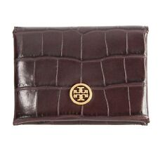 Tory Burch Parker Port Croc Embossed Leather Card Case Mini Wallet NWT