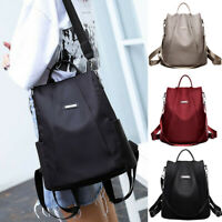 Womens Waterproof Oxford Cloth Travel Backpack Nylon Anti-theft Double Shoulder