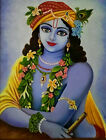 """Canvas Hand made Oil painting of Lord Krishna in blue 18"""" X 24"""" (1.5 ft X 2 ft)"""