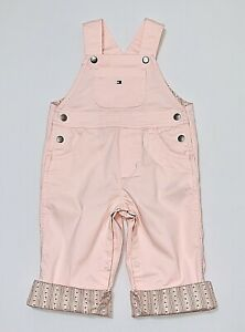 NWOT Tommy Hilfiger Floral Striped Cuff Solid Pink Overalls, 3-6 mos.