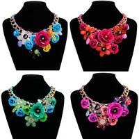 1Pc Crystal Flower Choker Bib Chunky Statement Chain Necklace Women Jewelry