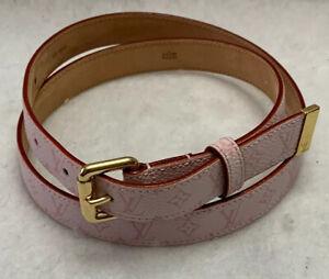 LOUIS VUITTON Pink Thin Monogram Cherry Blossom Belt LB0043  80 - 32