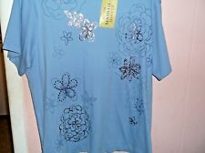 CLASSIC ELEMENTS WOMEN'S  2X NWT  BLUE S/S TOP EMBELLISHED BEADS  SEARS BRAND