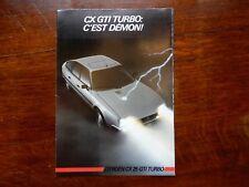 CITROEN CX 25 GTI 1985 CATALOGUE PROSPEK