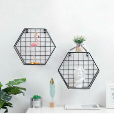 Set 2 Hexagonal Wall Shelves Grid Metal Wood Storage Display Shelf Hanging Black