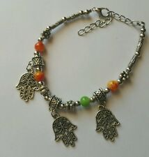 Hamsa  Hand Charm Chain Beaded Bracelet Hippy Festival fashion Assorted colours