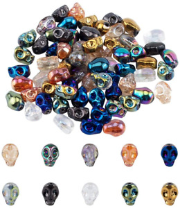 40pcs Mixed Electroplate Glass Skull Beads Mini Loose Spacer DIY Craft 10x7.5mm