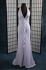 Bridesmaid Prom Pageant Moonlight Prom Halter Lilac Empire Waist Chiffon Size:8