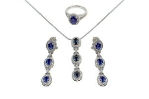 Royal Blue Sapphire & Diamond Necklace, Earrings and Ring Gorgeous Set