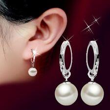 925 Sterling Silber Perle Creolen Ohrringe Klapp Ohrhänger