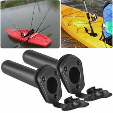 2pcs Flush Mount Fishing Boat Rod Holder Bracket w/ Cap Cover for Kayak Pole Usa