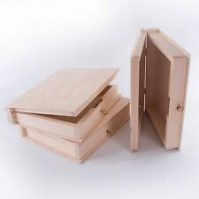 Plain Wooden Book Shaped Lockable with Key Box Case/ Wood Trinket Decoupage Gift