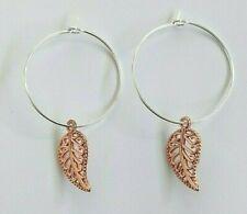 Handmade Silver Plated Filigree Leaf Hoop Earrings - Rose Gold - Gift Bag