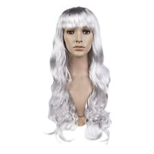 Long 70cm argent ondulé femmes cosplay fancy dress synthétique perruque