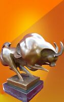 HOT CAST BRONZE MODERN ARTS BULL STATUE ANIMAL FIGURE SIGNED SCULPTURE FIGURINE
