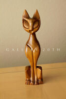SIAMESE CAT SCULPTURE! HANDCARVED MID CENTURY MODERN ART! WOOD COOL CAT FELINE