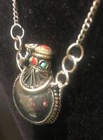 Coral And Turquoise Kuchi Vintage Perfume Bottle/ Ashes Urn Necklace/ Keepsake