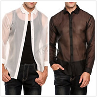 Sexy Mens See Through Mesh Long Sleeve Top Muscle Tee Shirt Clubwear Undershirt