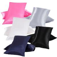 Standard Queen King Satin Silk Pillowcase Pillow Case Cover Home Bedding