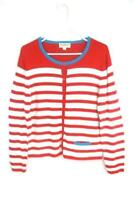 Norm Thompson Women's Red White Striped Button Up Sweater Cardigan Size M