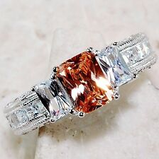 2CT Padparadscha Sapphire & White 925 Solid Sterling Silver Ring Sz 6, T2-8