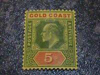 GOLD COAST POSTAGE & REVENUE STAMP SG68 5/- 1913 LIGHTLY-MOUNTED MINT