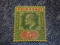 GOLD COAST POSTAGE & REVENUE STAMP SG68 5/- 1913 LIGHTLY MOUNTED MINT