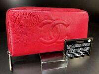 Auth Chanel Coco Mark Red Caviar skin zippy round Wallet purse 558618532