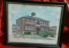 Vintage Colored Etching Drawing Old Laurel High School by Marian Quinn Framed