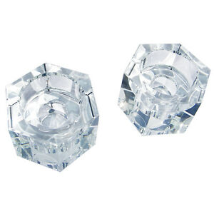Crystal Octagon Candlestick Candle or Tea Light Holders Set of 2 Wedding