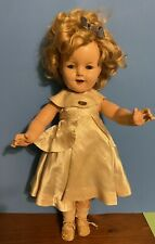 Antique Vintage 1935 Ideal Shirley Temple Compo Doll Mohair Wig Satin Gown Rare
