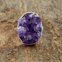 Natural Amethyst Druzy Ring - 925 Sterling Silver Handmade Ring Size 8