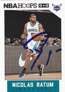 NICOLAS BATUM CHARLOTTE HORNETS SIGNED NBA HOOPS CARD PORTLAND TRAIL BLAZERS