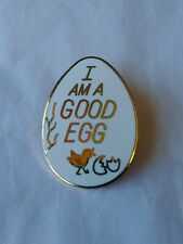I am a Good Egg Lapel Pin White with Gold Lettering Hatched Chick Shells