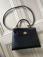 Stylish Black Leather Bag With Detachable Long Leather  Strap By BALLY