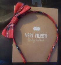Mud Pie Kids Tartan Red Plaid Christmas Bow Headband