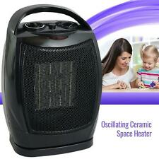 Oscillating Ceramic Space Heater Fan Home Office Adjustable Thermostat, Black