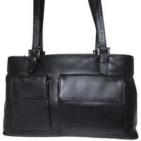 praktische Leder Tasche OSLO - schwarz -  Umhängetasche Shopper Raumwunder