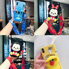 Classic Hot Cute 3D Cartoon Wallet Lanyard Stand Silicone Phone Case For Samsung
